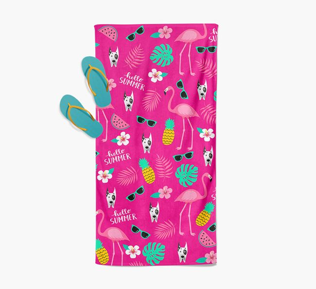 Summer Flamingo and Great Dane Icon Pattern Pool Towel