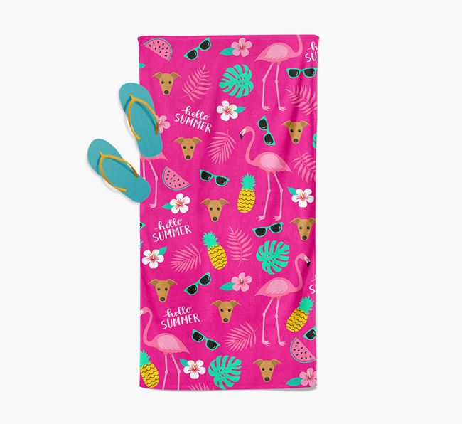 Summer Flamingo and Greyhound Icon Pattern Pool Towel