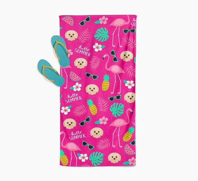 Summer Flamingo and Jack-A-Poo Icon Pattern Pool Towel