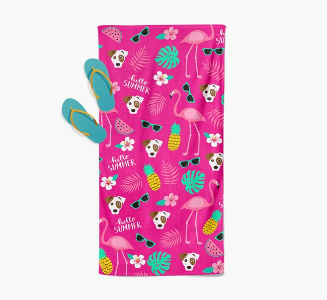 Summer Flamingo and Dog Icon Pattern Pool Towel