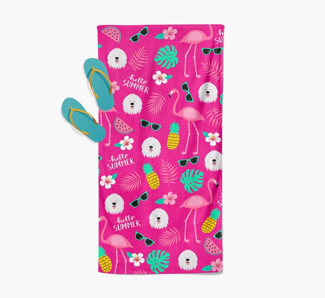 Summer Flamingo and Komondor Icon Pattern Pool Towel
