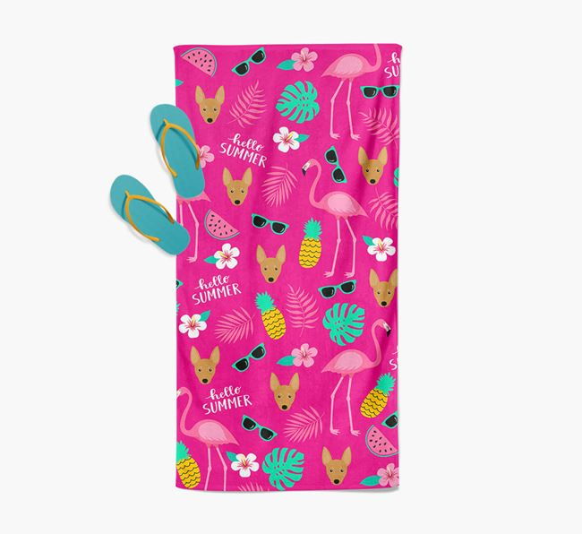 Summer Flamingo and Miniature Pinscher Icon Pattern Pool Towel