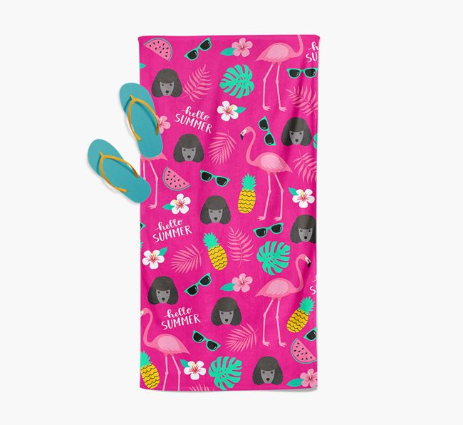 Summer Flamingo and Miniature Poodle Icon Pattern Pool Towel