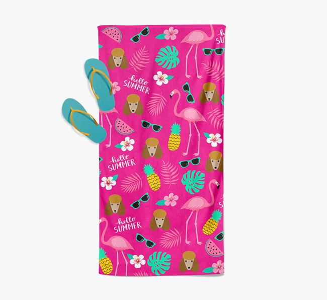 Summer Flamingo and Poodle Icon Pattern Pool Towel