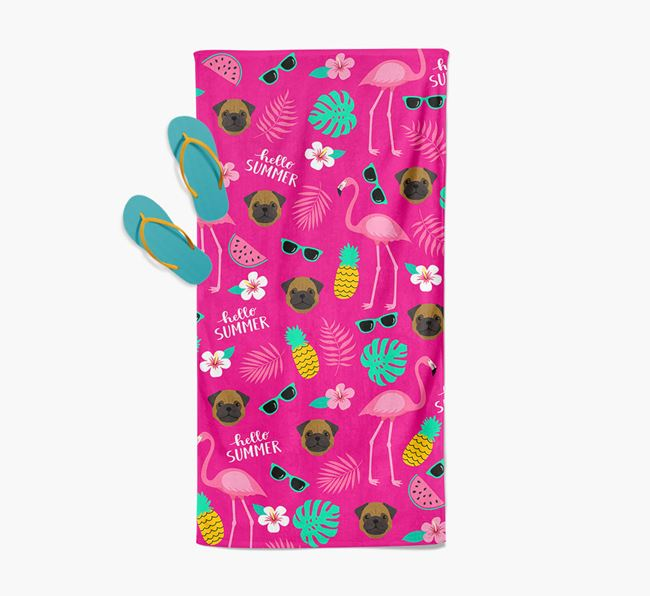 Summer Flamingo and Pug Icon Pattern Pool Towel