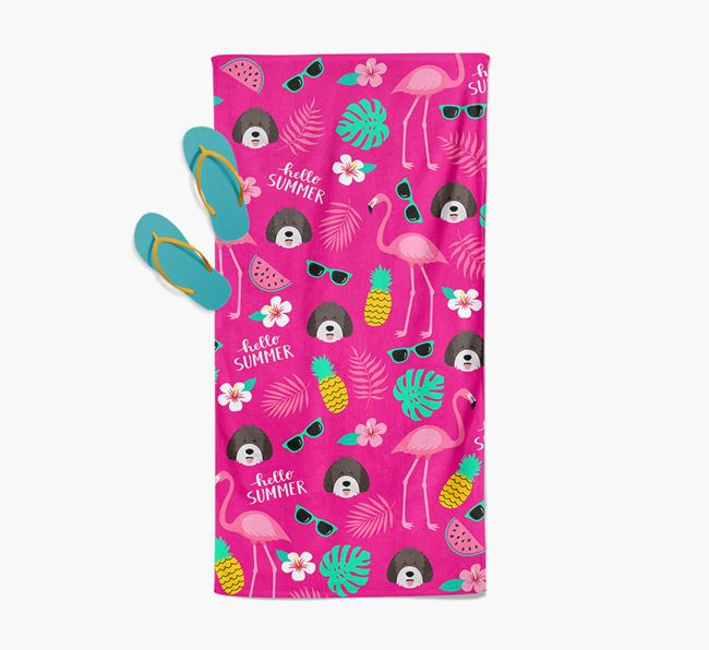 Summer Flamingo and Spanish Water Dog Icon Pattern Pool Towel
