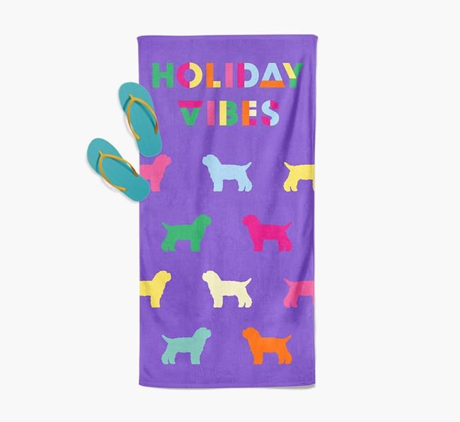 Holiday Vibes with Bichon Yorkie Silhouette Pool Towel
