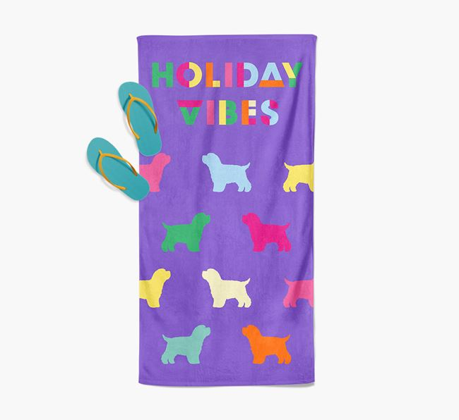 Holiday Vibes with Bich-poo Silhouette Pool Towel