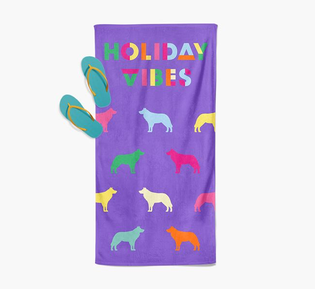 Holiday Vibes with Border Collie Silhouette Pool Towel