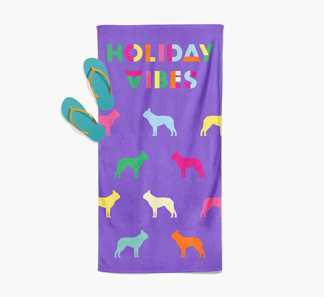 Holiday Vibes with Boston Terrier Silhouette Pool Towel
