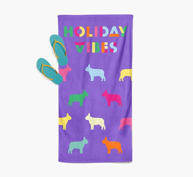 Holiday Vibes with French Bulldog Silhouette Pool Towel