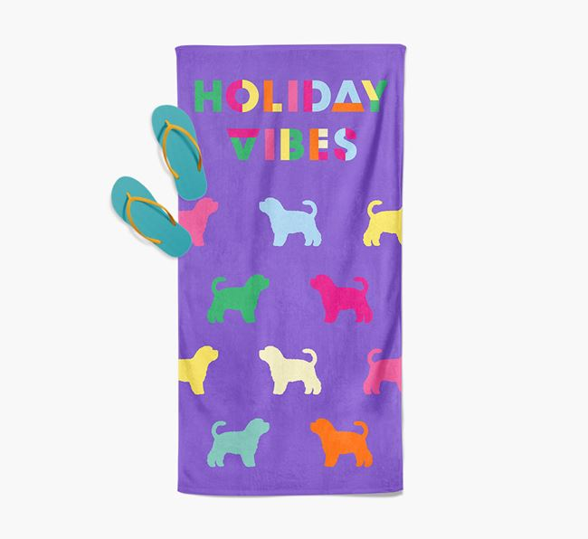 Holiday Vibes with Dog Silhouette Pool Towel