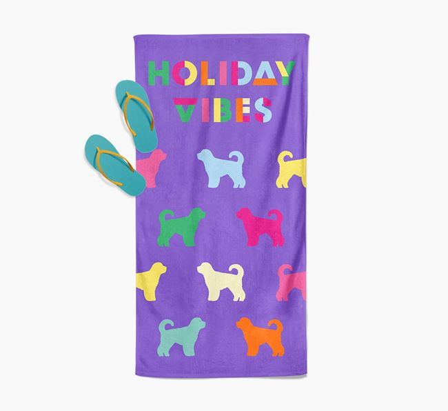 Holiday Vibes with Spanish Water Dog Silhouette Pool Towel