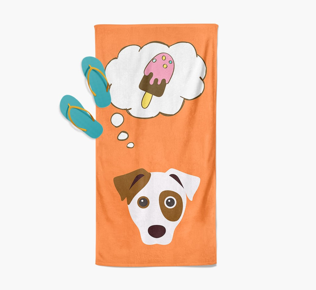 'Ice Cream Dreams' with Dog Icon Beach Towel with slippers