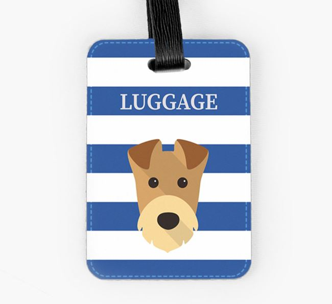 Airedale Terrier Luggage Tag with Icon on Stripes