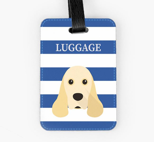 American Cocker Spaniel Luggage Tag with Icon on Stripes