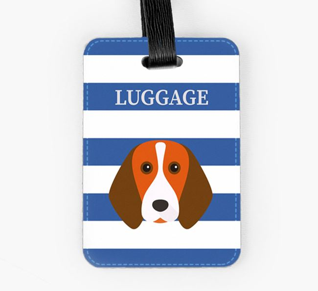 Beagle Luggage Tag with Icon on Stripes