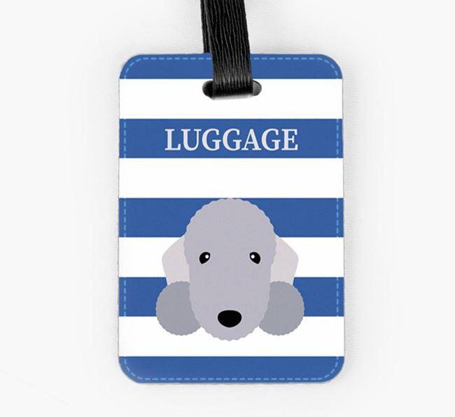 Bedlington Terrier Luggage Tag with Icon on Stripes