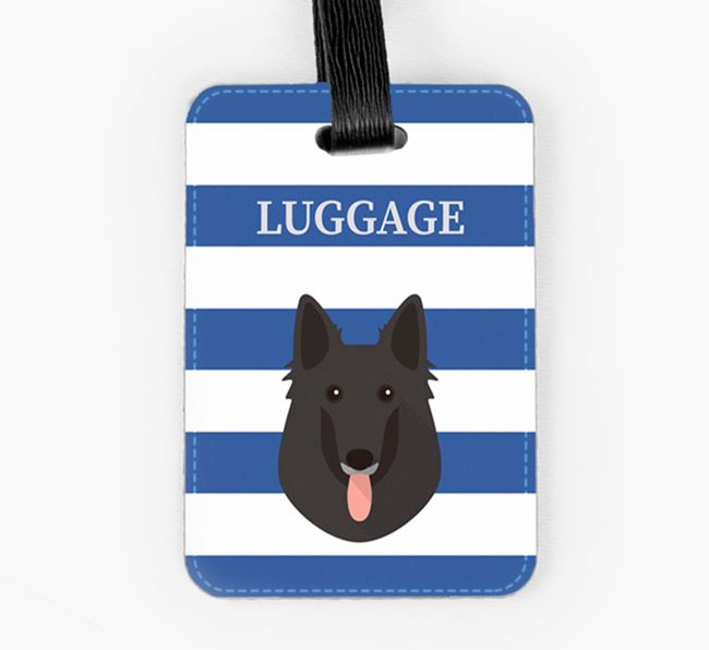 Belgian Groenendael Luggage Tag with Icon on Stripes