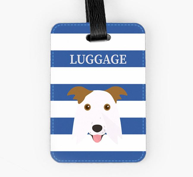 Border Collie Luggage Tag with Icon on Stripes