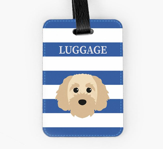 Cavapoochon Luggage Tag with Icon on Stripes
