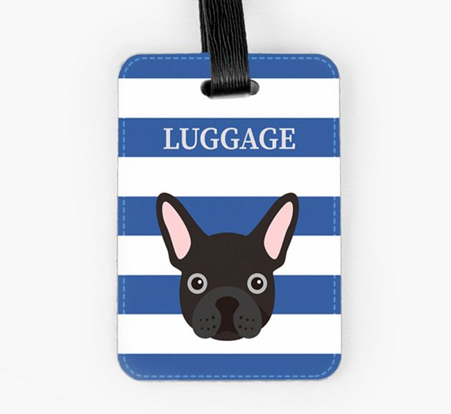 French Bulldog Luggage Tag with Icon on Stripes