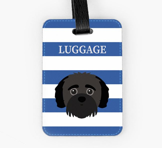 Jack-A-Poo Luggage Tag with Icon on Stripes