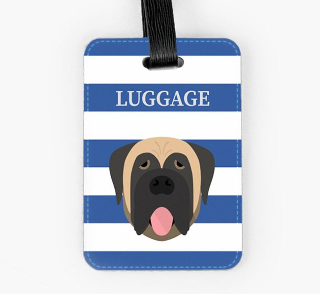 Dog Luggage Tag with Icon on Stripes