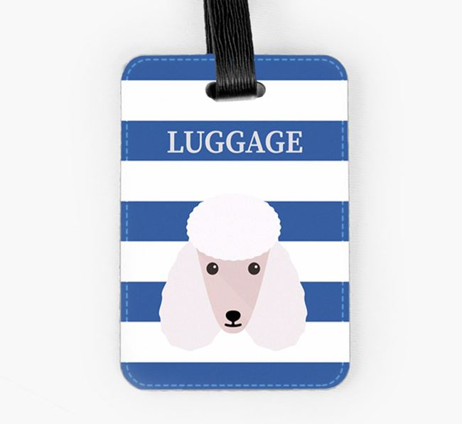 Poodle Luggage Tag with Icon on Stripes