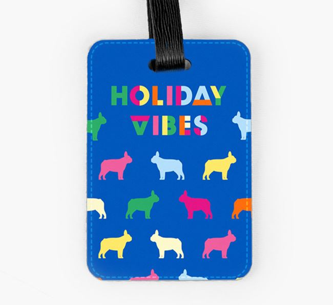 Luggage Tag with Colourful French Bulldog Silhouettes