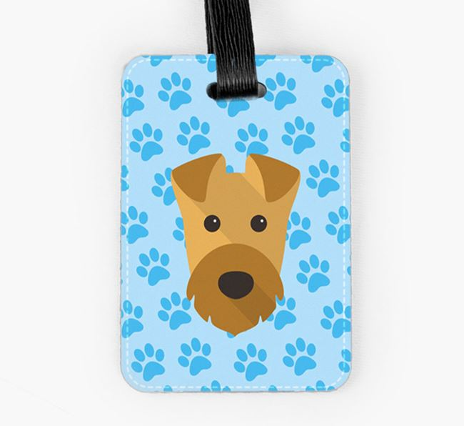 Luggage Tag with Airedale Terrier Icon on Paw Prints