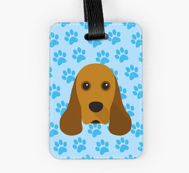 Luggage Tag with American Cocker Spaniel Icon on Paw Prints