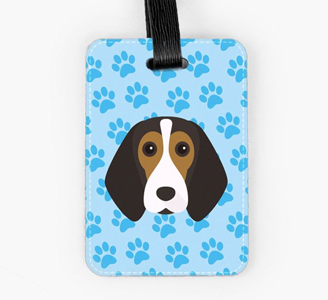 Luggage Tag with Beagle Icon on Paw Prints