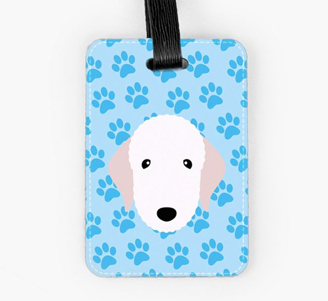 Luggage Tag with Bedlington Terrier Icon on Paw Prints
