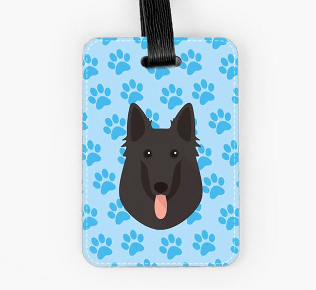 Luggage Tag with Belgian Groenendael Icon on Paw Prints