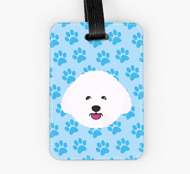 Luggage Tag with Bichon Frise Icon on Paw Prints