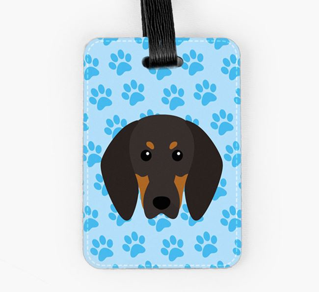 Luggage Tag with Black and Tan Coonhound Icon on Paw Prints