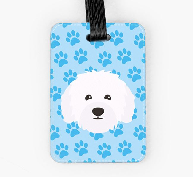 Luggage Tag with Bolognese Icon on Paw Prints