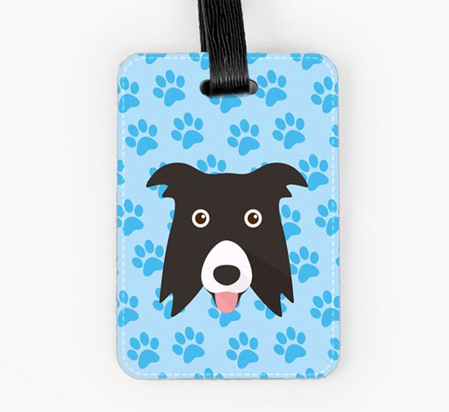 Luggage Tag with Border Collie Icon on Paw Prints