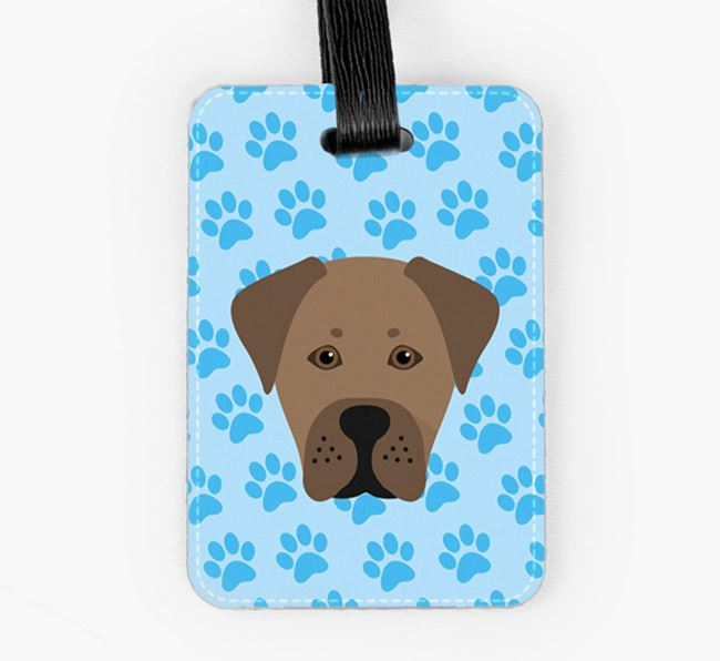 Luggage Tag with Boxador Icon on Paw Prints