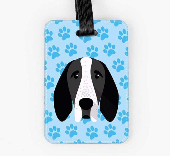 Luggage Tag with Braque D'Auvergne Icon on Paw Prints