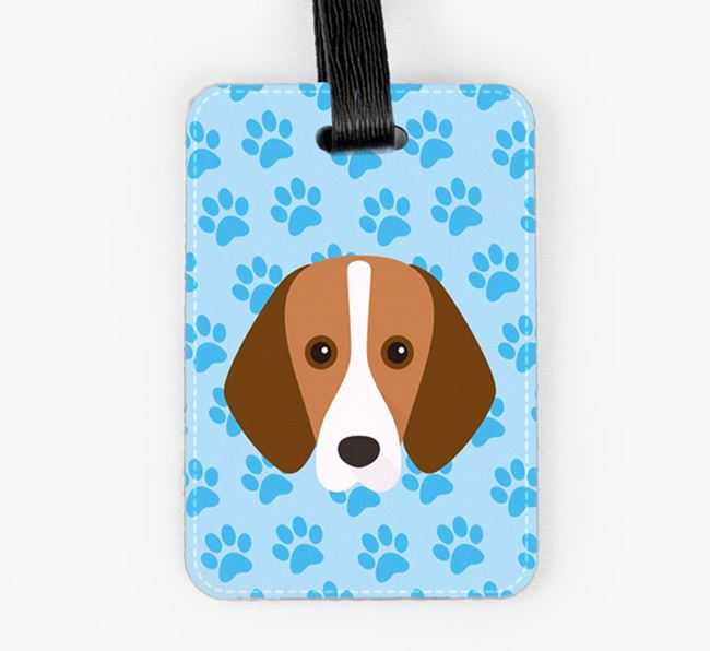 Luggage Tag with Foxhound Icon on Paw Prints