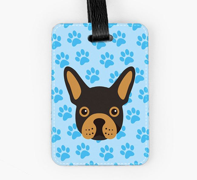 Luggage Tag with French Bulldog Icon on Paw Prints