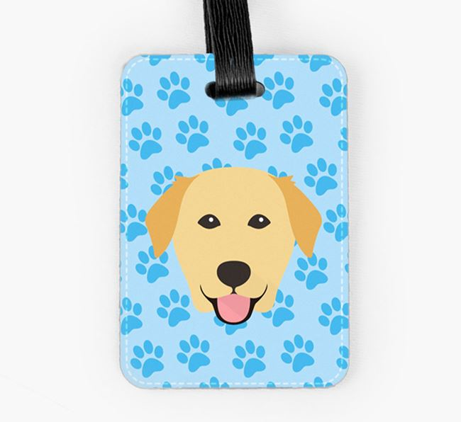 Luggage Tag with Golden Labrador Icon on Paw Prints
