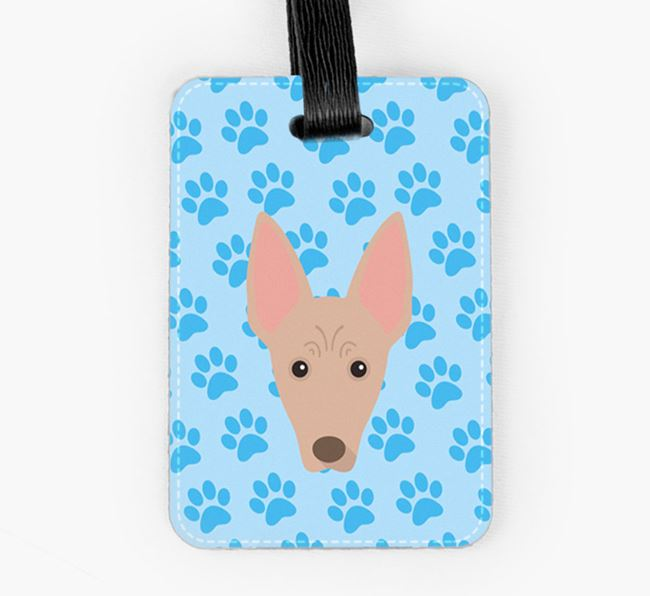 Luggage Tag with Mexican Hairless Icon on Paw Prints