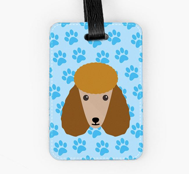 Luggage Tag with Poodle Icon on Paw Prints