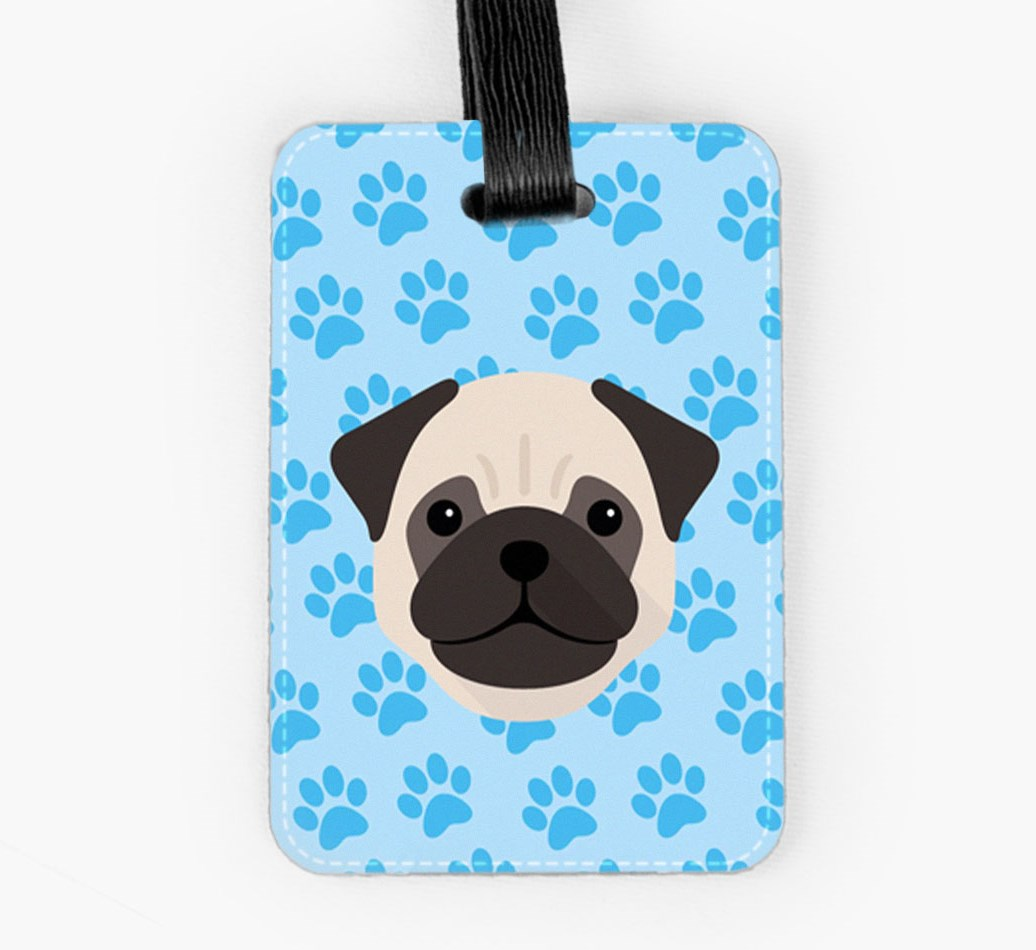 Pug Luggage Tag Front