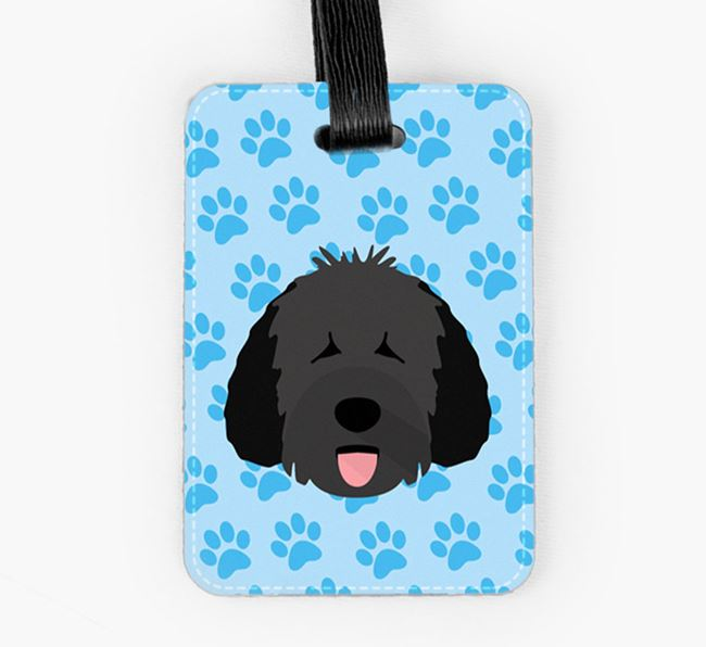 Luggage Tag with Dog Icon on Paw Prints