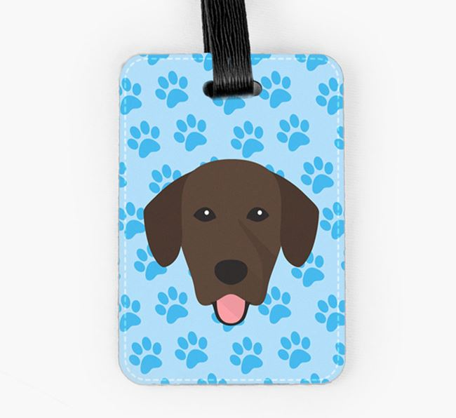 Luggage Tag with Springador Icon on Paw Prints