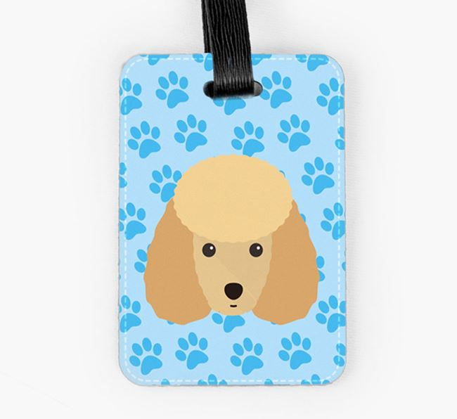Luggage Tag with Toy Poodle Icon on Paw Prints